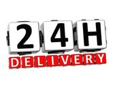 3D Twenty Four Hour Delivery Button Click Here Block Text — Stock Photo