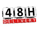 3D Forty Eight Hour Delivery Button Click Here Block Text — Stock Photo