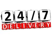 3D Twenty Four Seven Delivery Button Click Here Block Text — Stock Photo
