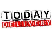 3D Today Delivery Button Click Here Block Text — Stock Photo