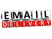 3D Email Delivery Button Click Here Block Text — Stock Photo