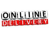 3D Online Delivery Button Click Here Block Text — Stock Photo