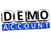3D Demo Account Button Click Here Block Text — Stockfoto