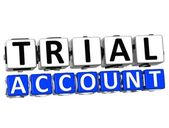 3D Trial Account Button Click Here Block Text — Stock Photo