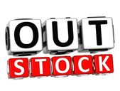 3D Out Stock Button Click Here Block Text — Zdjęcie stockowe