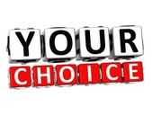 3D Your Choice Button Click Here Block Text — Stock Photo