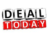 3D Deal Today Button Click Here Block Text — Stock Photo