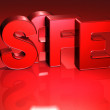 Stock Photo: 3D Word Safe on red background