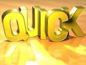 3D Word Quick on yellow background — Stock Photo