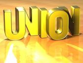 3D Word Union on yellow background — Stock Photo