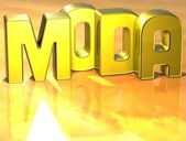 3D Word Moda on yellow background — Zdjęcie stockowe