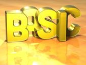 3D Word Basic on yellow background — Stock Photo
