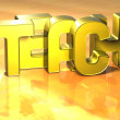 3D Word Teach on yellow background — стоковое фото #18279323