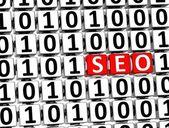3D Word SEO inside zero one blocks — Stock Photo