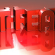 Stock Photo: 3D Word Threat on red background