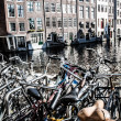 Typical Amsterdam architecture with bikes — Stock Photo #18484653
