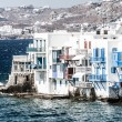Stock Photo: Little Venice neighborhood along shore of Mykonos, Greece