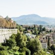 Bergamo, Citta Alta, Lombardy, Italy, from via San Vigilio on a sunny spring afternoon.Bergamo, Citta Alta, Lombardy, Italy, from via San Vigilio on a sunny spring afternoon. — Stock Photo #18488735