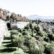Bergamo, Citta Alta, Lombardy, Italy, from via San Vigilio on a sunny spring afternoon.Bergamo, Citta Alta, Lombardy, Italy, from via San Vigilio on a sunny spring afternoon. — Stock Photo #18488751