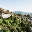 Bergamo, Citta Alta, Lombardy, Italy, from via San Vigilio on a sunny spring afternoon.Bergamo, Citta Alta, Lombardy, Italy, from via San Vigilio on a sunny spring afternoon. — Stock Photo #18488897