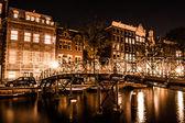 Amsterdam at night, The Netherlands — Stock Photo