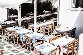 Restaurant near the sea in Mykonos, Greece. — Stock Photo