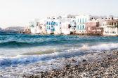 Little Venice neighborhood along the shore of Mykonos, Greece — Stock Photo