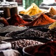 Dried herbs flowers spices in the Marrakesh street shop, shallow dof — Foto Stock