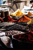 Dried herbs flowers spices in the Marrakesh street shop, shallow dof — Stock Photo