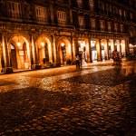 Plaza Mayor of Madrid at night, Spain — Stock Photo