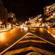 Stock Photo: Street traffic in night Madrid, Spain