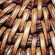 Detail of interlaced rattan fibers in macro — Stock Photo