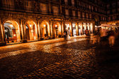 Plaza Mayor of Madrid at night, Spain — Stock fotografie