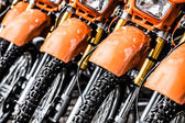 Motorcycles in line in a shop. — Stock Photo