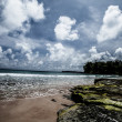 Neil Island beach and blue sky with white clouds, Andaman islands - India — Stock Photo