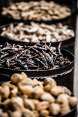 Variety of spices in local market in India — Stock Photo