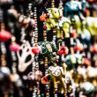 Various of decorative elephants from wood in different colors in Mattancherry Market in Kochi, Kerala, India  — Photo