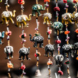 Various of decorative elephants from wood in different colors in Mattancherry Market in Kochi, Kerala, India — Stock Photo #19001785