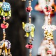 Various of decorative elephants from wood in different colors in Mattancherry Market in Kochi, Kerala, India — Stock Photo #19001799