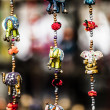 Various of decorative elephants from wood in different colors in Mattancherry Market in Kochi, Kerala, India  — Stock Photo