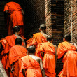 Monks in Ayutthaya, Thailand - Stock Photo