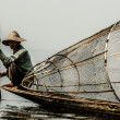 Fisherman in inle lake, Myanmar. — Stock Photo