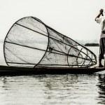 Fisherman in inle lake, Myanmar. — Stock Photo