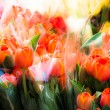 Colorful Dutch wooden souvenir tulips for sale at a market - Stock Photo