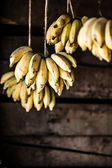 Bananas in a wheelbarrow on a fruits and vegetable market, Nepal — Stock Photo