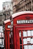 Classic red British telephone box in London — Stock Photo
