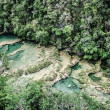 Beautiful arial view of turquoise waterfalls Semuc Champey in guatemala — Stok fotoğraf