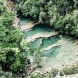 Beautiful arial view of turquoise waterfalls Semuc Champey in guatemala — Stock Photo