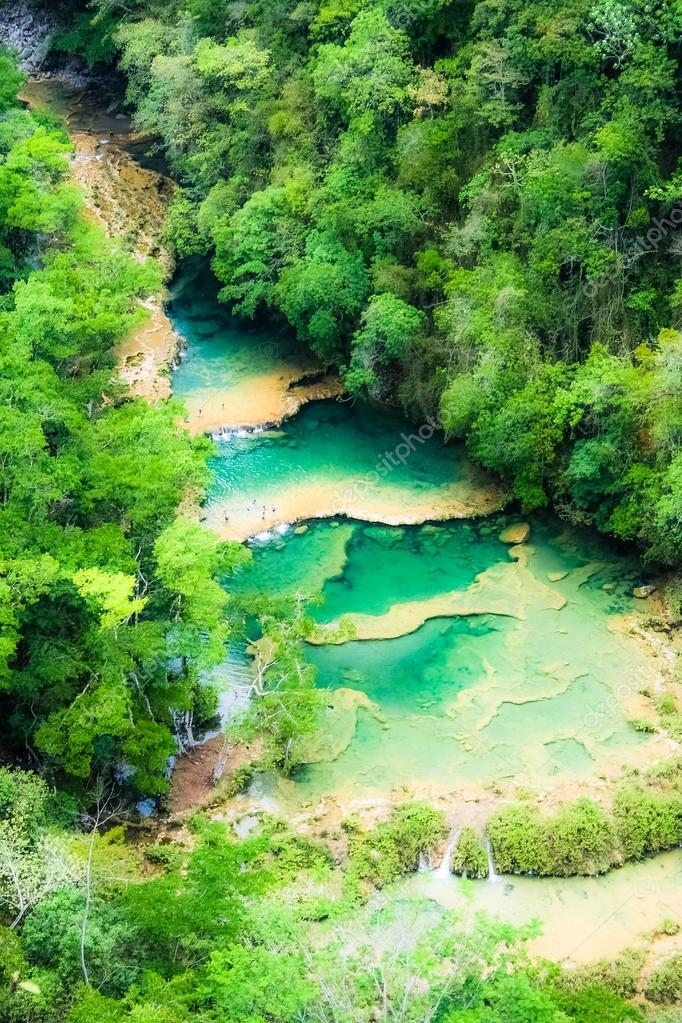 Beautiful arial view of turquoise waterfalls Semuc Champey in guatemala  Stock Photo #19452007