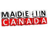 3D Made in Canada button over white background — Stock Photo